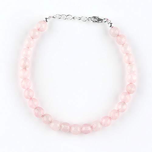 Valentijnsgeschenk natuurlijke rozenkwarts steen kralen armband, handgemaakte geboortesteen sieraden, 925 sterling zilveren ketting 8 inch, Valentijn geschenken voor vrouwen, hart Chakra genezing, vriendschap en liefde kristallen