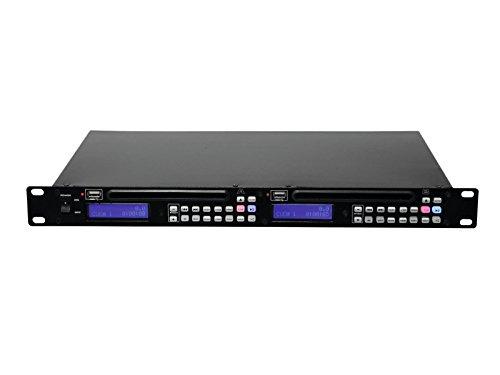 Omnitronic DMP-202 Dual-USB-CD-Player | Doppel-CD- und MP3-Player mit USB-Schnittstellen | 1 HE flacher Doppel-CD- und MP3-Player mit Pitchregelung