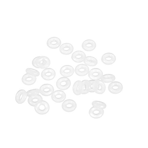 uxcell Silicone O-Ring, 6mm OD, 2mm ID, 2mm Width, VMQ Seal Rings Gasket, White, Pack of 30