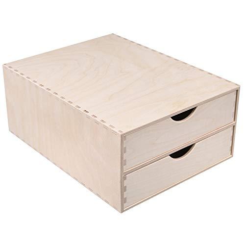 Creative Deco Schubladen-Box aus Birken-Sperrholz | 2 Schubladen | 33 x 25 x 13,5 cm (+/- 1 cm) | Mini-Kommode für Kleinigkeiten | Perfektes Ordnungssystem für Lagerung, Decoupage & Dekoration