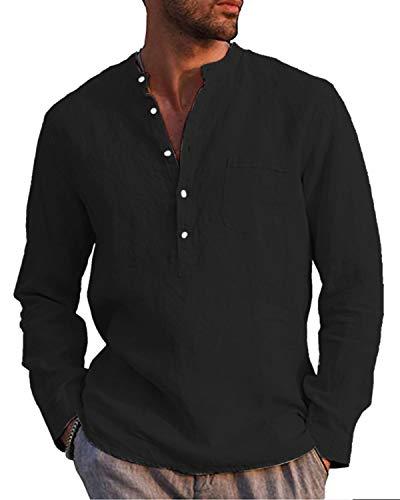 AUDATE Herren Leinen Baumwolle Henley Shirt Roll-up Langarm Basic Vintage T-Shirt Stehkragen Schwarz XL
