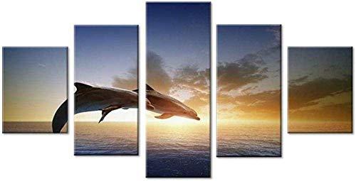 Bibilongbk 5 imágenes consecutivas saltando delfín animal pintura lienzo arte de la pared imagen decoración de la sala de estar HD puesta de sol cartel marino (100x50 cm sin marco)