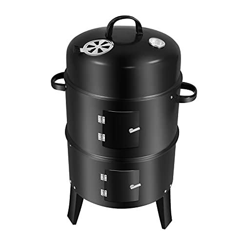 Barbecue Fumoir Smoker,3 en 1 Multifonctions BBQ Grill Vertical à Charbon de Bois,Thermomètre Inclus,pour Cuisson Viande et poisson