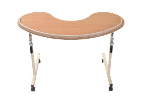 Einstellbare nierenförmig Overchair Tisch, Curved Schreibtisch, Maximum Sessel Komfort, bequeme Ruheposition für Arme, Nutzbare Arbeitsfläche, höhenverstellbar, Ideal für arthritische Hände