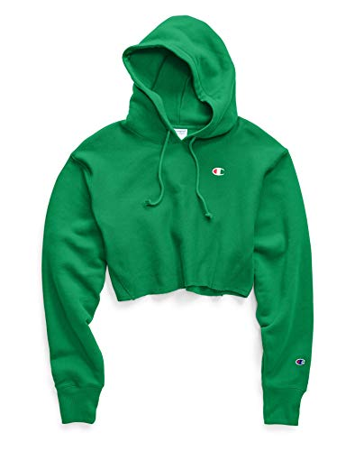 Champion LIFE Women's Reverse Weave Cropped with Hood, Green Field, Medium