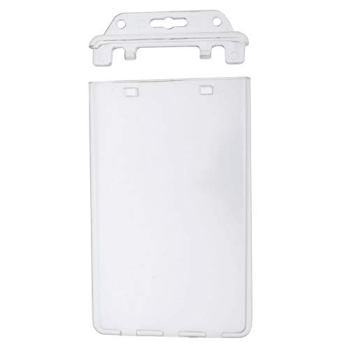 50 Pack - Permanent Locking Hard Plastic Badge Holder - Vertical Clear Heavy Duty Secure Case Holder for One or Two I'd Cards by Specialist ID