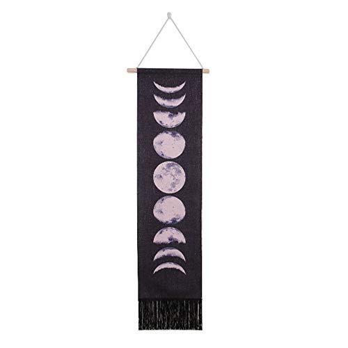 Tapices para colgar en la pared Ciclo de crecimiento completo de la luna Nueve fases Algodón Lino Arte de la pared Astronomía Decoración hecha a mano para el hogar Oficina Hotel (negro)