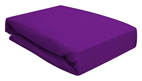 Arle-Living Spannbettlaken für Wasserbett Boxspringbett oder Übergrößen 180x200-200x220 cm - hochwertige 190 gr/m² - breites Farbsortiment (Lila/Violet)