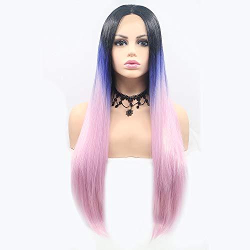 Scra AC peluca negro y azul polvo recto pelo largo Pelucas mujeres hecho a mano encaje europeo y peluca conjunto peluca