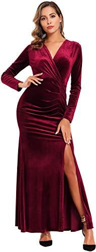 Ababalaya Long Sleeve Wrap Velvet Long Formal Dresses Cocktail Dress, Burgundy