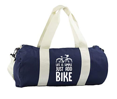 Hippowarehouse Life is simple just add bike Gymwear Gym Duffle Cylinder Uniform Kit Bag 50 x 25 x 25cm 20 litres