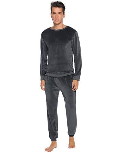 Abollria Nicki Hausanzug Herren Velours Zweiteiliger Freizeitanzug Samtweiche Rundhals Pullover +Jogginghose mit Tasche,Grau,S
