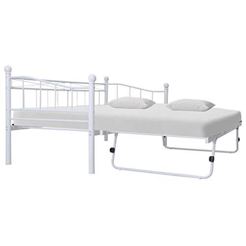 Famgizmo 90 X 200 cm ~ 180 × 200 cm Polsterbett Bett Gästebett Bettgestell Metallbett Ehebett | Lattenrost | Kopfteil | Rad | Erweitern | Weiß