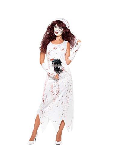 Smiffys 45522L - Damen Zombie Braut Kostüm, Kleid, Handschuhe und Schleier, Größe: 44-46, weiß
