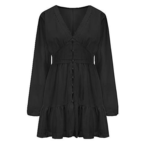 N\P Vestido de verano de manga larga con cuello en V para mujer