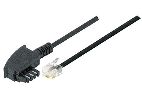 TPFNet Modular-Kabel (TAE F Stecker an RJ11 Stecker 4-polig Belegt) Schwarz, 15m