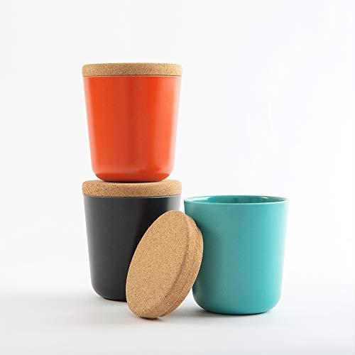 EKOBO Vorratsdosen-Set (Größe S), 3-teilig, H 9,5 cm, 240 ml, Persimmon/Black/Lagoon, Bambus-Faser / Kunstharz / Kork-Deckel luftdicht, für losen Tee, Gewürze, Salz, Zucker etc.