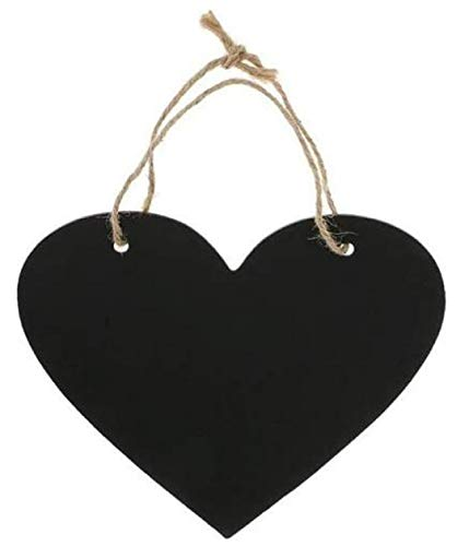 zmgmsmh Double Sided Wooden Blackboard Erasable Message Chalkboard with String Suit for Signs, Weddings, Parties, Home, Garden Decorations (Heart-Shaped)