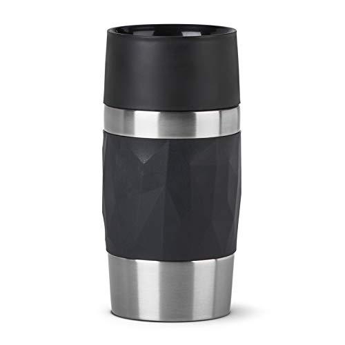 Emsa N21601 Travel Mug Compact Thermo-/Isolierbecher aus Edelstahl | 0,3 Liter | 3h heiß | 6h kalt | BPA-Frei | 100% dicht | auslaufsicher | spülmaschinengeeignet | 360°-Trinköffnung | Schwarz