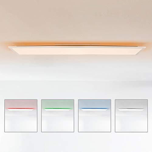 LED Panel Deckenleuchte, 120x30cm, 36 Watt, mit RGB Hintergrundbeleuchtung, 2700-6500 Kelvin, Metall/Kunststoff, Weiß