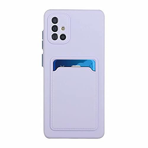 TYWZ Porta Carte Custodia per Samsung Galaxy A71,Built-in Slot Card Holder Silicone TPU Cover Ultra-Sottile AntiGraffio Antiurto Case-Viola