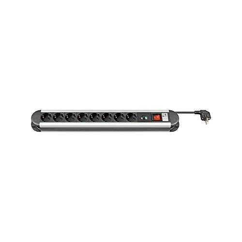 M-Cab Presa di corrente con protezione da sovratensioni, 8 spine, alluminio, 1.5 m, argento/nero