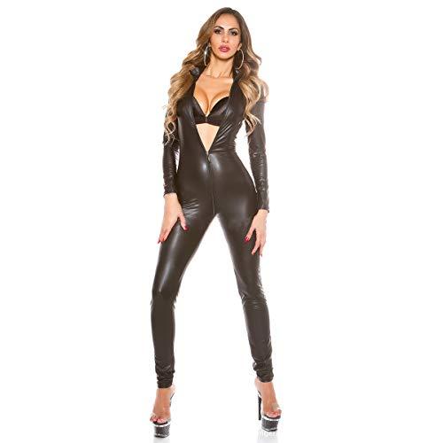 EVR Kunstleder Catsuit, glänzender Overall mit Langen Ärmeln in Lederoptik und 3 Wege Schrittreißverschluss für Frauen und Herren Stück,Schwarz,XXL