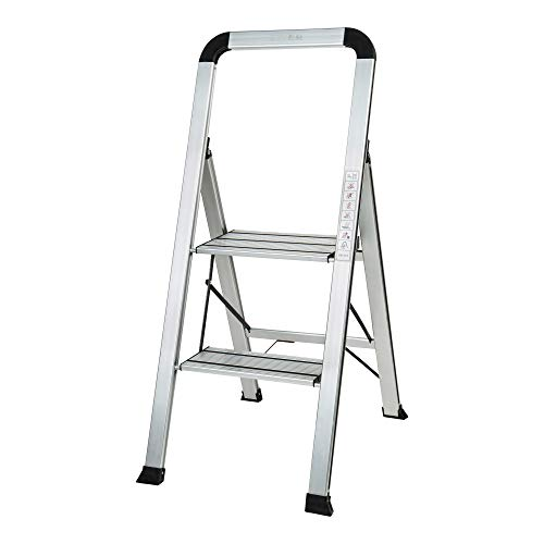 STIER Haushaltsleiter, 2 Stufen, Tragfähigkeit 150 kg, Aluminium, XXL-Stufen, Sicherheitsbügel, zusammenklappbar
