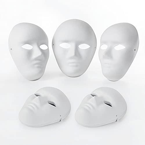 OVISEEN 10 Piezas Máscaras de Papel Blanco para Pintar Carnaval, áscara de Pulpa en Blanco para Cosplay, Fiesta de Halloween (9,45 x 7,28 pulgadas)