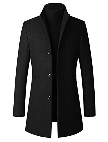 FTCayanz Men's Trench Coat Wool Blend Slim Fit Top Coat Single Breasted Business Overcoat Black Medium