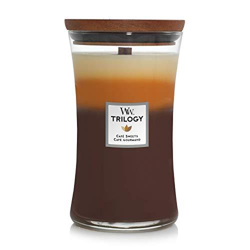 Woodwick Hourglass Trilogy Candela Profumata Grande con Stoppino Scoppiettante, Fino A 130 Ore, Multicolore (Dolci al caffè), 10.2 x 10.2 x 17.8 cm