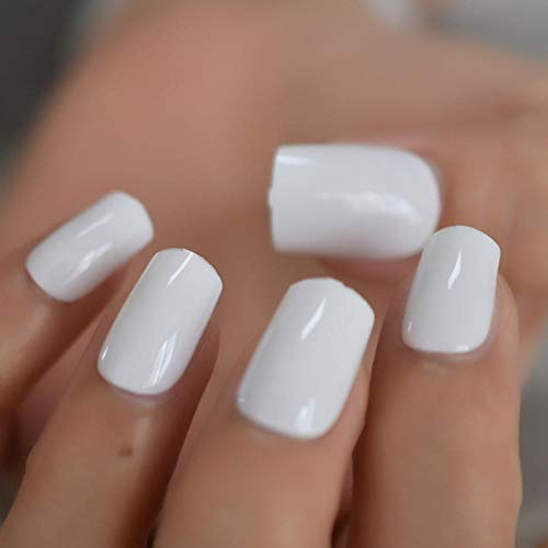 CLOAAE White full coverage square fake nails snow medium solid color nail art skills smooth and simple DIY artificial nails