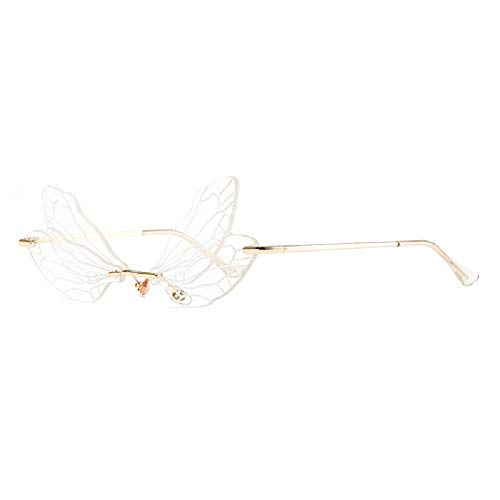 ZHZHO Gafas de sol Dragonfly, Gafas de sol con forma de ala de libélula para mujeres/hombres, Gafas de sol de moda con alas de libélula sin montura