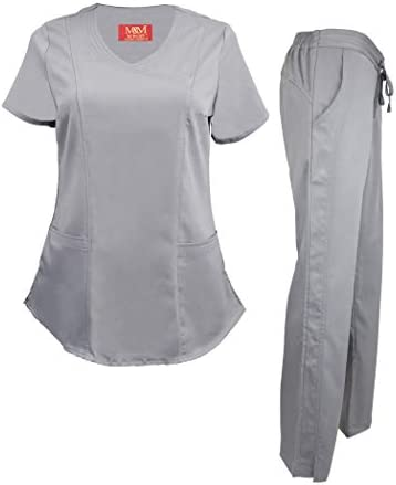 M M SCRUBS Women s Ultra Soft Modern Fit Mock Wrap Scrub Set Grey 3X Large product image