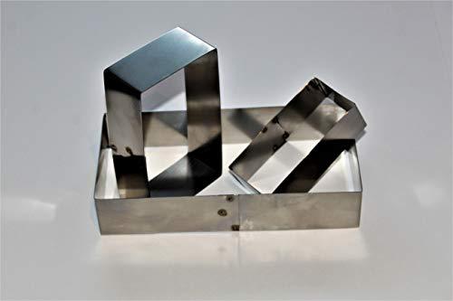 TAME Set 3 Piezas de Moldes de Forma Rectangular para Emplatar o Repostería en Acero Inoxidable Cortadores de Masa - 5 x 10 cm - 8 x 16 cm - 10 x 20 cm -