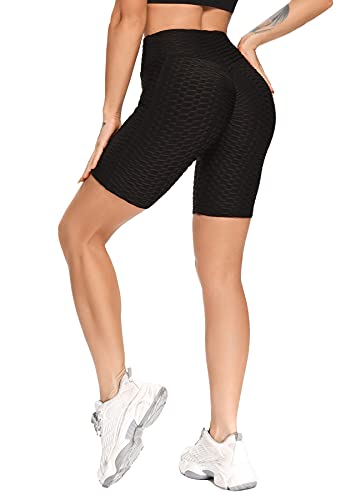RIOJOY Mallas deportivas para mujer, de cintura alta, con bolsillo ajustado, transpirables, suaves y elásticos, para correr, para correr, pilates,, E-negro., S