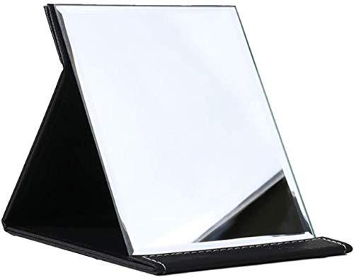 LHY- Maquillage Miroir Miroir Pliant Bureau Portable Étudiant Dortoir Princesse Femme De Bureau Grand Miroir La Mode (Color : Black, Size : 26 * 18 cm)