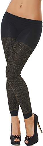 Jela Londen stoffen legging voor dames, zwart goud-glitter, glanzend, GoGo Dance, dansbroek, vrije tijd, panty, stretch (32 34 36 38)