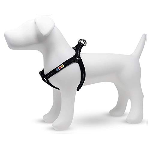 PAWTITAS Reflektierendes Hundegeschirr einstellbar für sportliche Aktivitäten   Hunde Geschirr recyceln   Geschirr für Hunde für Mittelgroßen & Großen Hund - Schwarzes Meer Brustgeschirr Hund