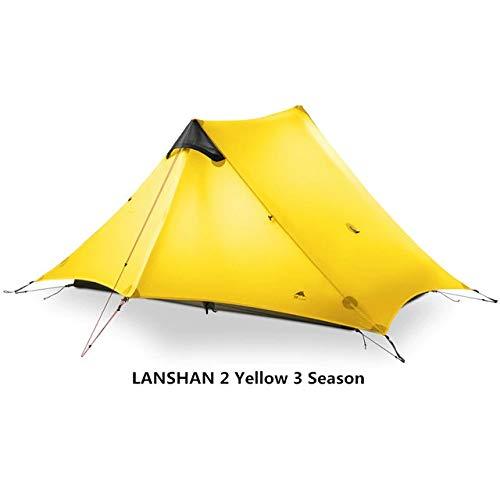 DHXX 3F UL GEAR Lanshan 2 Tent 2 Person Oudoor Ultralight Camping Tent 3 Season Professional 15D Silnylon Rodless Tent 4 Season For Camping Beach Travel (Color : Yellow 2P 3 Season)