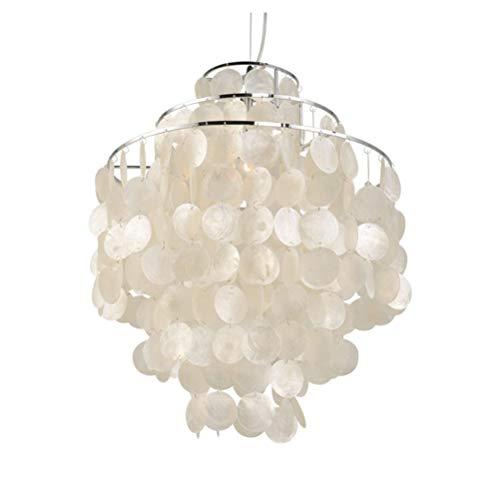 Lámpara de techo de conchas de cientos de capiz de nácar, para salón, comedor, E27, diámetro 30 cm x altura 50 cm