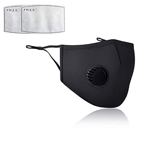 2 Piezas negro Mascarillas cómodas, antipolvo, filtro de carbón activo PM 2,5, antipolen, para bicicleta, moto, gimnasio, al aire libre (envasado al vacío)
