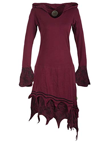 Vishes - Alternative Bekleidung - Zipfeliges Lagenlook Design Elfenkleid Zipfelkapuze Spitze Bedruckt dunkelrot 42-44