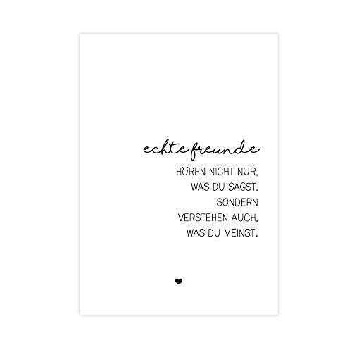 Echte Freunde - Kunstdruck auf wunderbarem Hahnemühle Papier DIN A4 -ohne Rahmen- schwarz-weißes Bild Poster zur Deko im Büro/Wohnung/als Geschenk-Idee Mitbringsel zum Geburtstag etc.