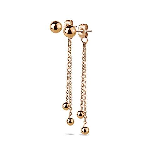 Beyoutifulthings, 1 paio di orecchini pendenti da donna, 2 catenine pendenti di diversa lunghezza, tre palline, in acciaio chirurgico, dorati e acciaio inossidabile, colore: oro rosa, cod. SE3371-RD