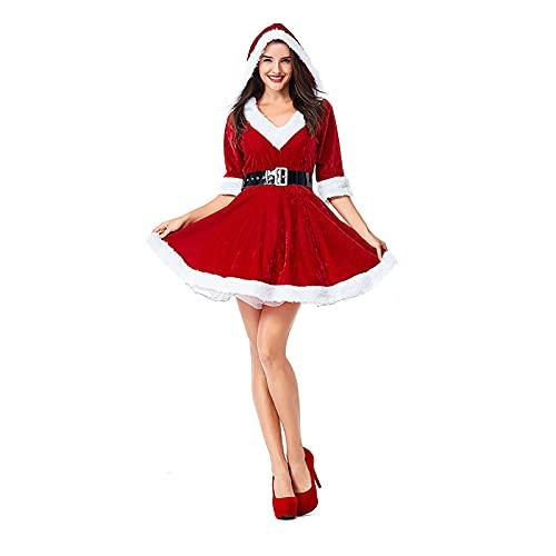 HBHBYNYN Adulto Navidad Santa Claus Pettiskirt Cloak con Capucha, Señora Santa Claus Velvet Cape Cape Uniforme De Navidad (Color : Red, Size : L)