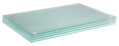 Striated 8 x 12 Inch Glass Cutting Board Set by Clever Chef - 4 Pack, Non-Slip, Shatter-Resistant, and Durable