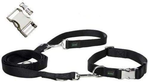 Zoofari Hundehalsband und Leine, Größe L, Hundehalsband und Leine, wetterfest, strapazierfähig, Schwarz/Chrom mit seitlicher Schnellverschluss-Schnalle