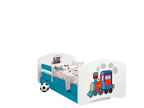 Happy Babies - Doppelseitiges KINDERBETT MIT SCHUBLADE Modernes Design mit sicheren Kanten und Absturzsicherung Schaumstoffmatratze 7 cm Blau (Lokomotive, 180x90)