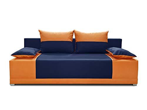 Schlafsofa Vera - Kippsofa Sofa mit Schlaffunktion Klappsofa Bettfunktion mit Bettkasten Couchgarnitur Couch Sofagarnitur (Dunkelblau + Orange (Neo 19 + Neo 32))